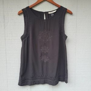 Desigual Embroidered Solid Black Tank Large